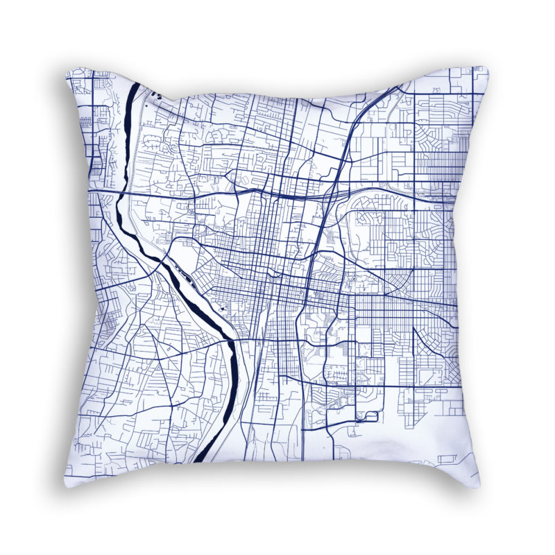 Albuquerque New Mexico City Map Art Decorative Throw Pillow