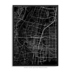 Albuquerque NM City Street Map Black Poster