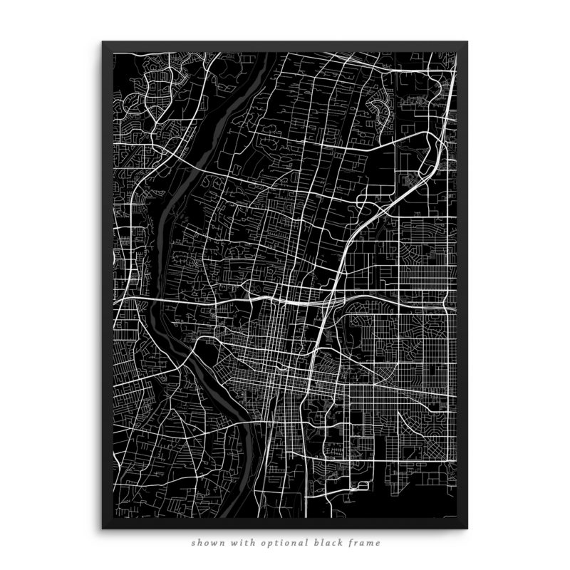 Albuquerque NM City Street Map Black Poster