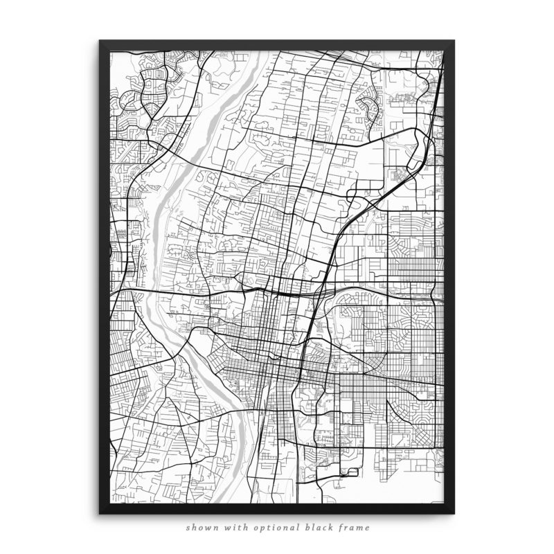 Albuquerque NM City Street Map White Poster
