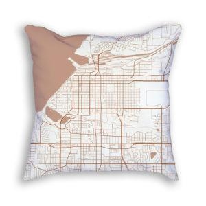 Anchorage Alaska City Map Art Decorative Throw Pillow