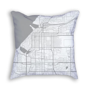 Anchorage Alaska City Map Art Decorative Throw Pillow