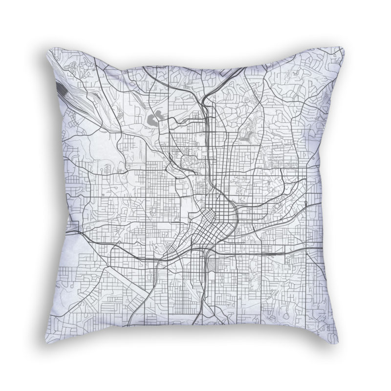 Atlanta Georgia City Map Art Decorative Throw Pillow