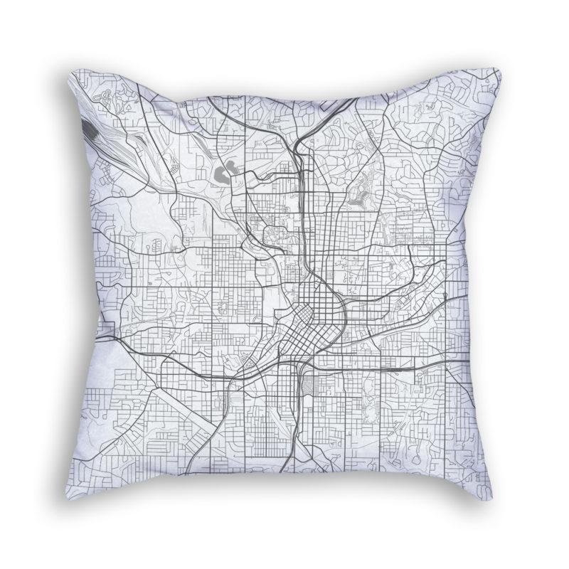 Atlanta Georgia City Map Art Decorative Throw Pillow