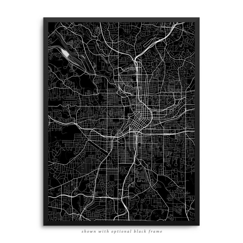 Atlanta GA City Street Map Black Poster