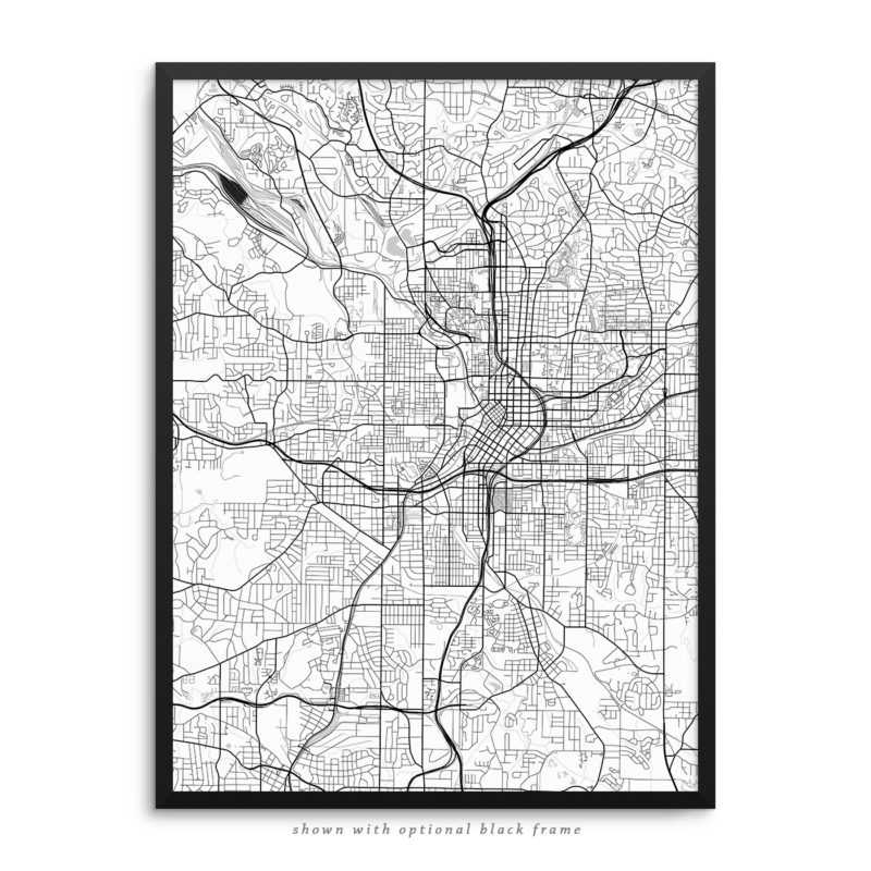 Atlanta GA City Street Map White Poster