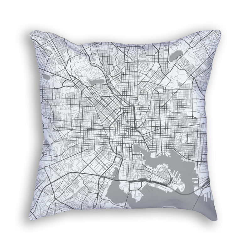 Baltimore Maryland City Map Art Decorative Throw Pillow