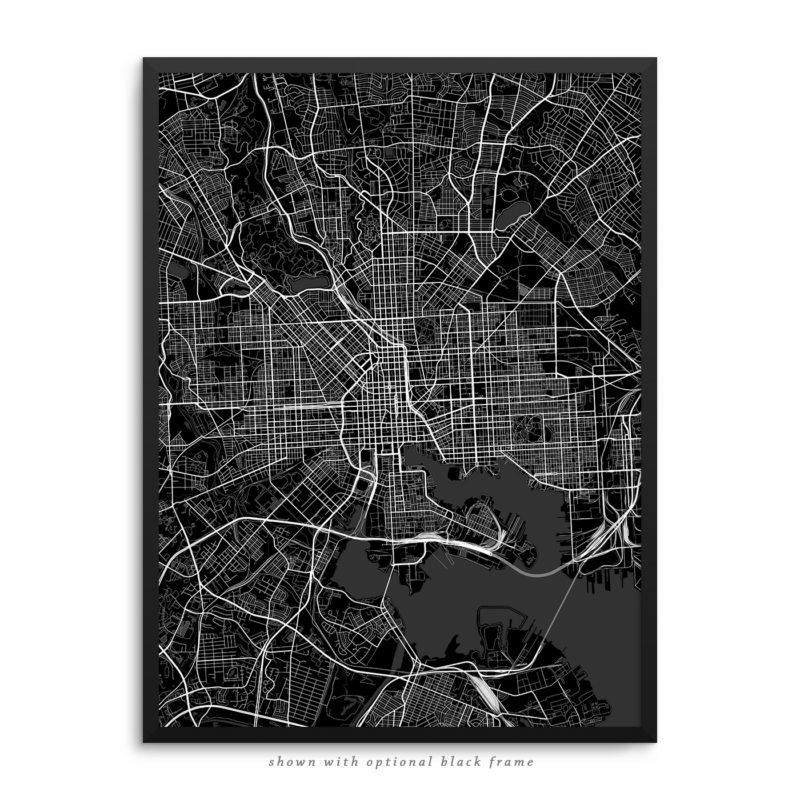 Baltimore MD City Street Map Black Poster
