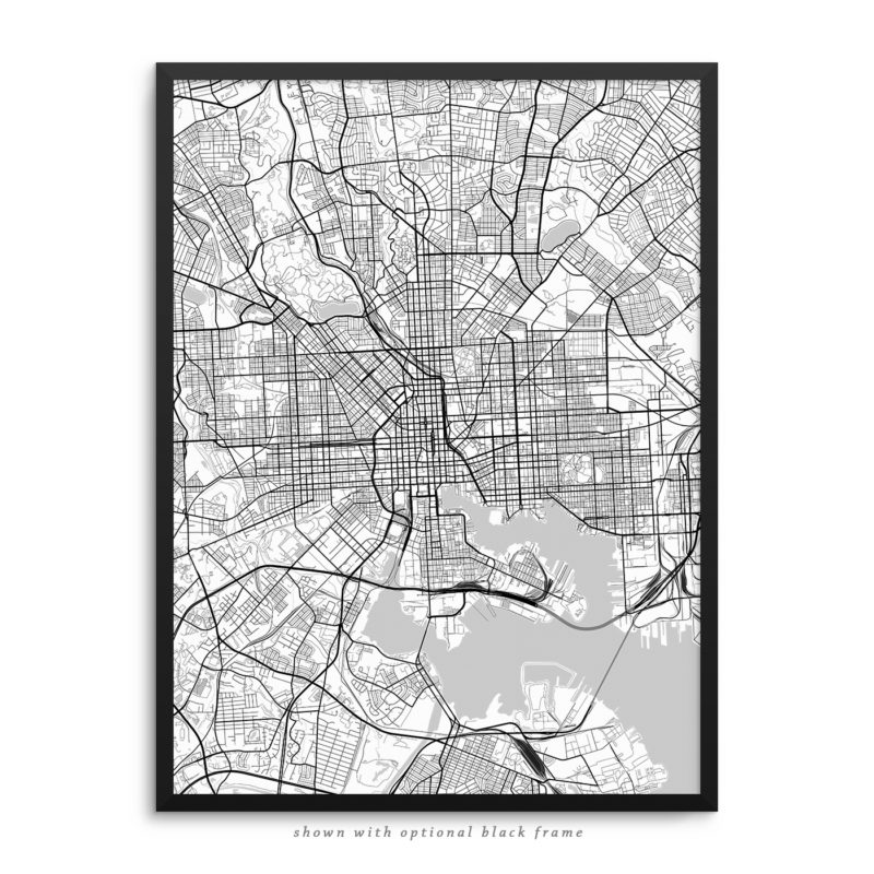 Baltimore MD City Street Map White Poster