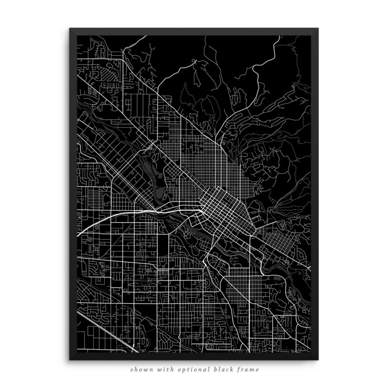 Boise ID City Street Map Black Poster