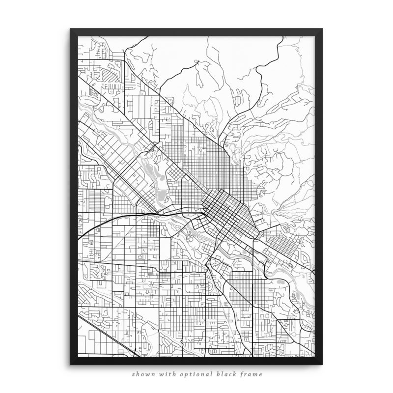 Boise ID City Street Map White Poster
