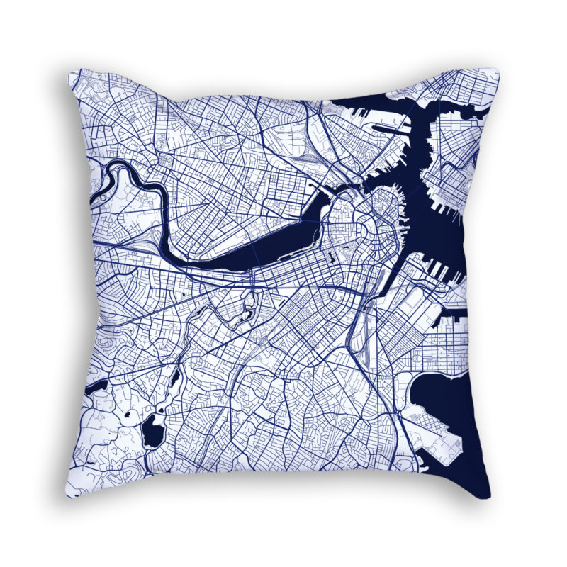 Boston Massachusetts City Map Art Decorative Throw Pillow