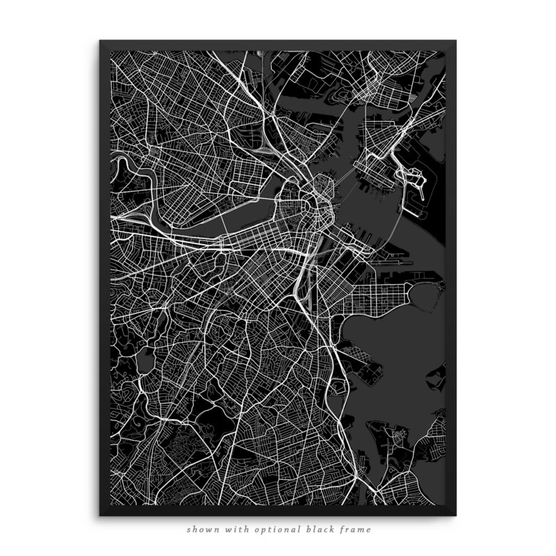 Boston MA City Street Map Black Poster