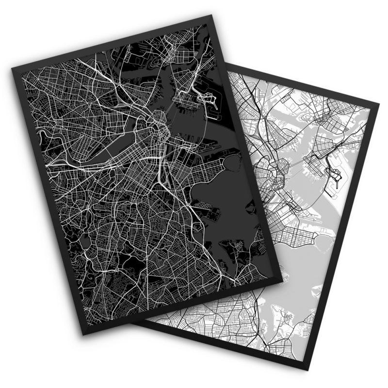 Boston MA City Map Decor