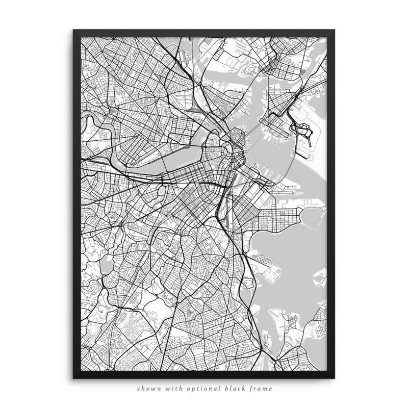 Boston MA City Street Map White Poster