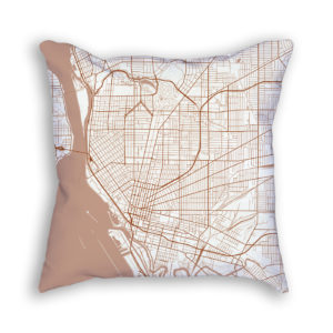Buffalo New York City Map Art Decorative Throw Pillow