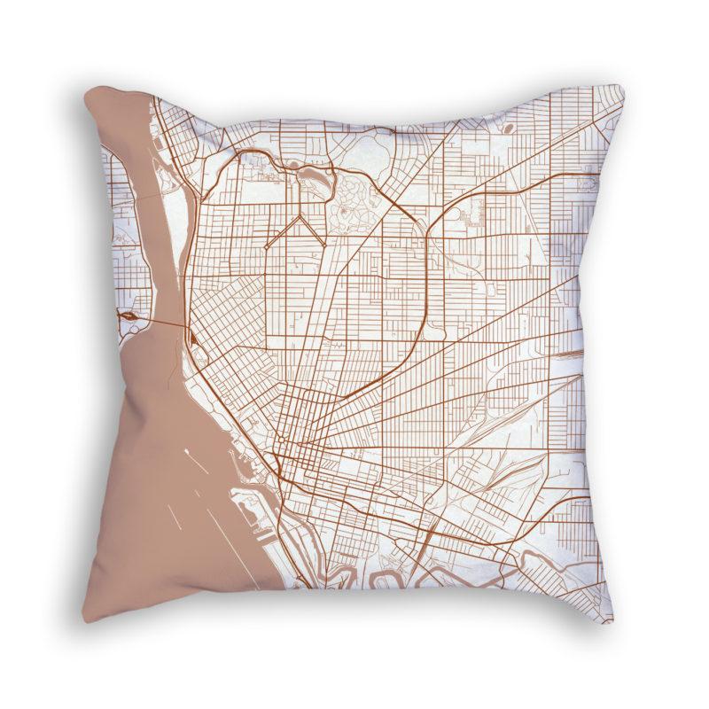 Buffalo New York City Map Art Decorative Throw Pillow