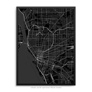 Buffalo NY City Street Map Black Poster