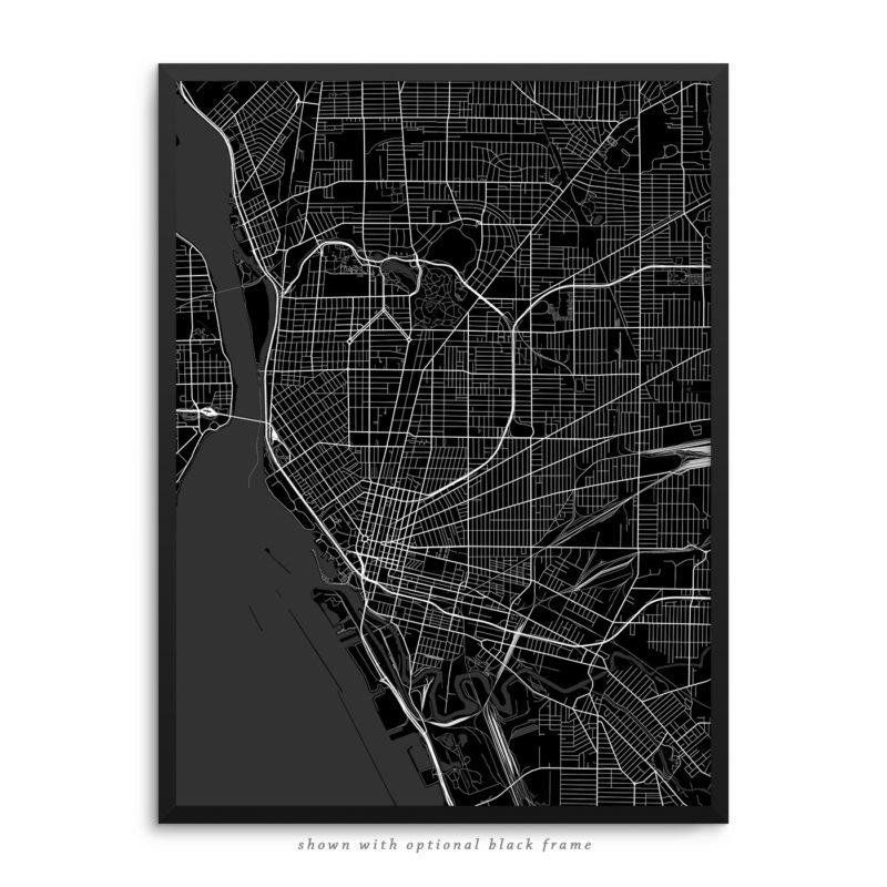 Buffalo NY City Street Map Black Poster