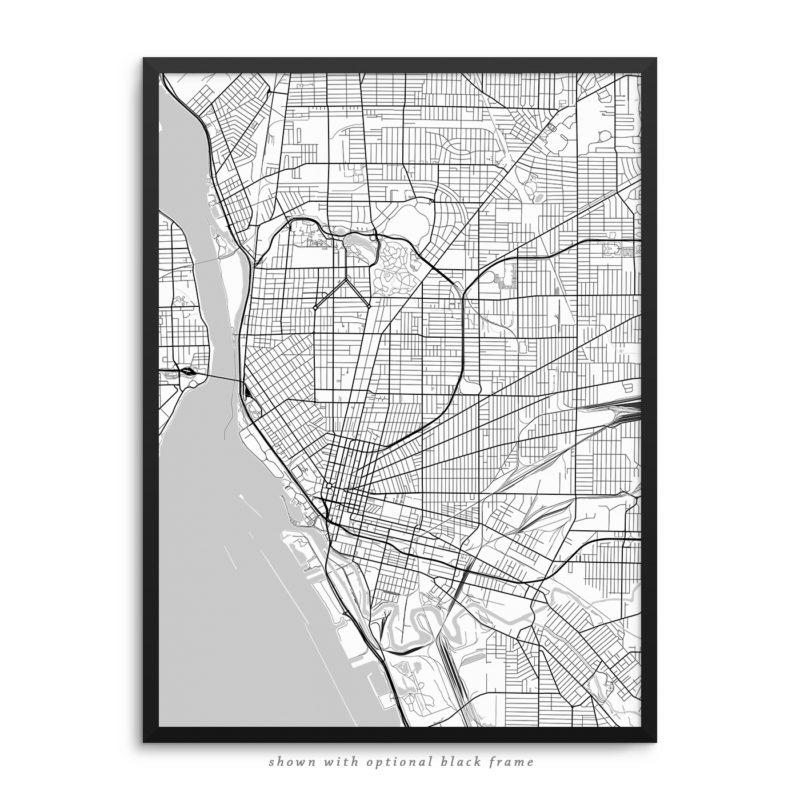 Buffalo NY City Street Map White Poster