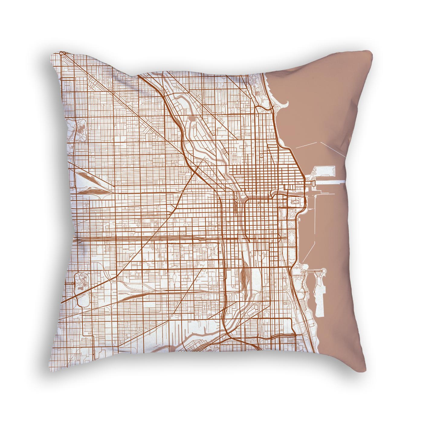 Chicago Illinois City Map Art Decorative Throw Pillow