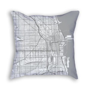 Chicago Illinois City Map Art Decorative Throw Pillow