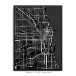 Chicago IL City Street Map Black Poster