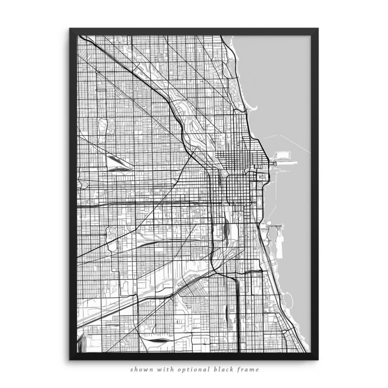 Chicago IL City Street Map White Poster