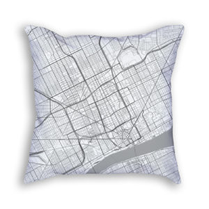Detroit Michigan City Map Art Decorative Throw Pillow