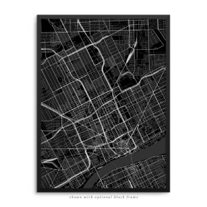 Detroit MI City Street Map Black Poster