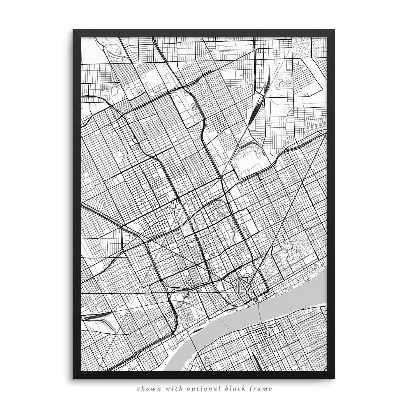 Detroit Michigan Poster – City Map Decor