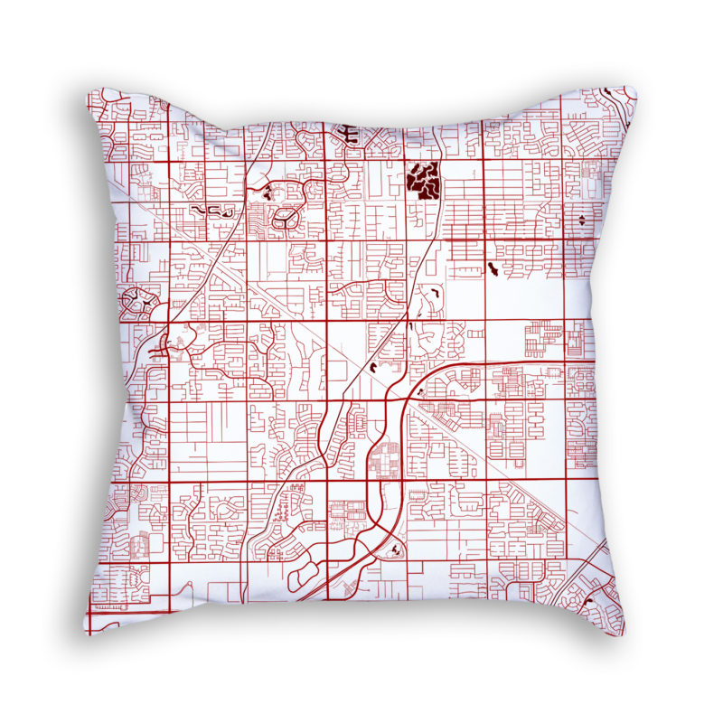 Gilbert Arizona City Map Art Decorative Throw Pillow