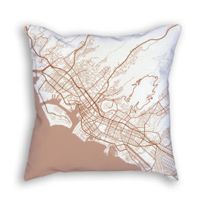 Honolulu Hawaii City Map Art Decorative Throw Pillow