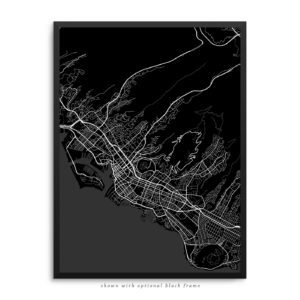 Honolulu HI City Street Map Black Poster