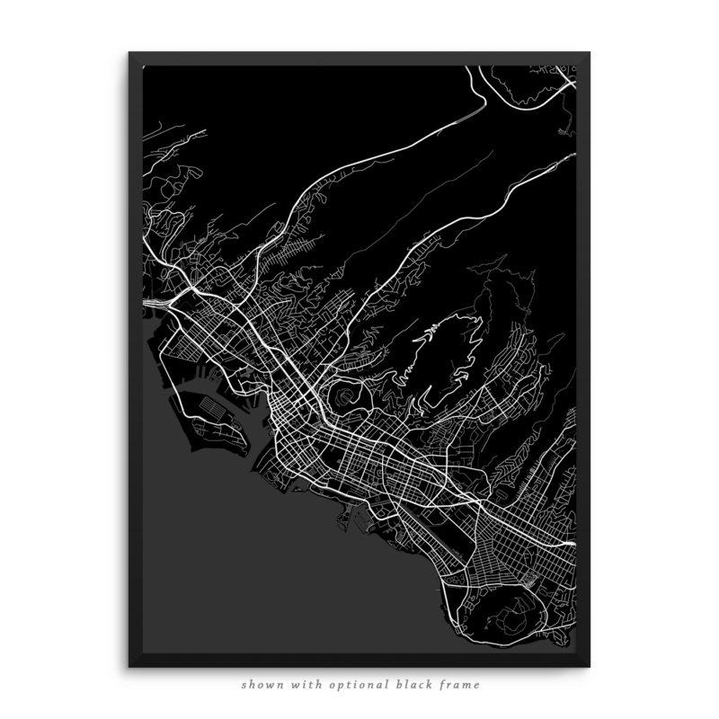 Honolulu HI City Street Map Black Poster