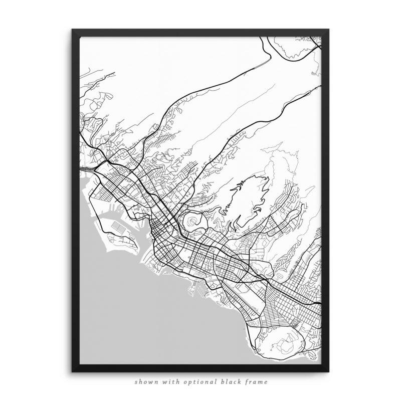 Honolulu HI City Street Map White Poster