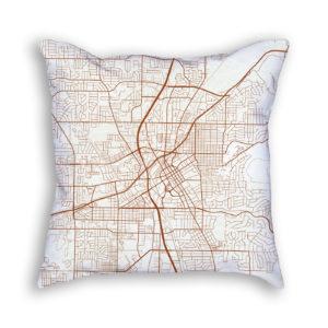 Huntsville Alabama City Map Art Decorative Throw Pillow