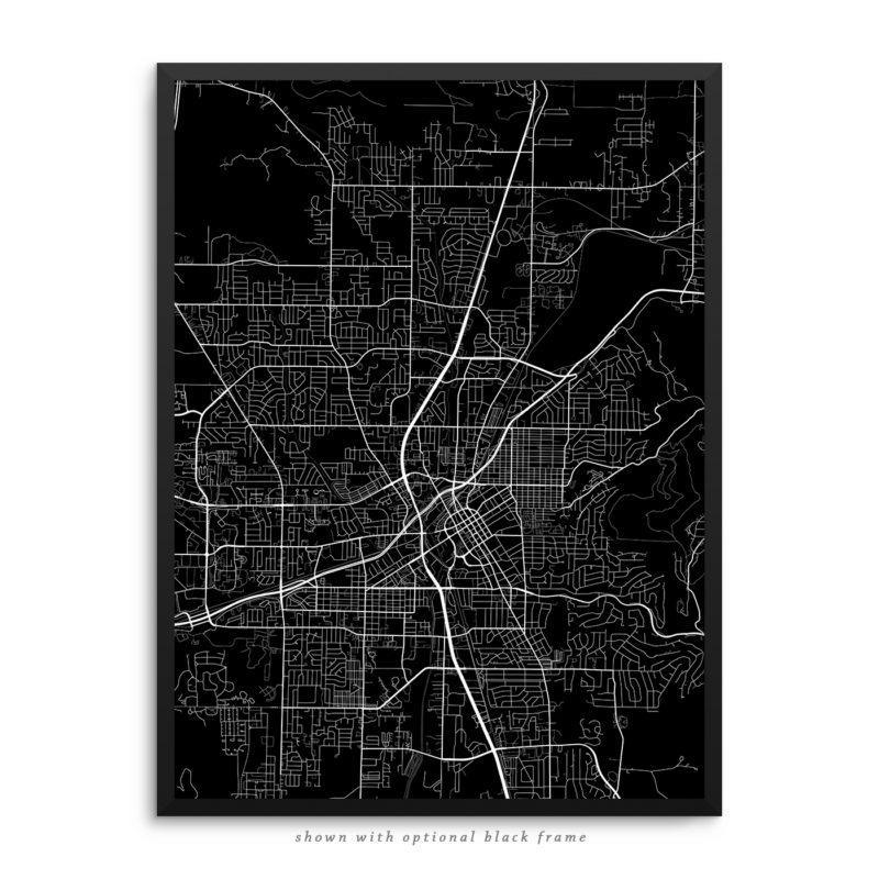 Huntsville AB City Street Map Black Poster
