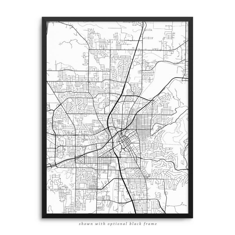Huntsville AB City Street Map White Poster