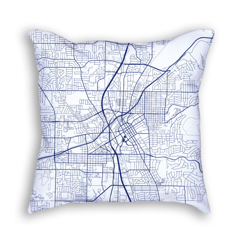 Huntsville Alabama City Map Art Decorative Throw Pillow