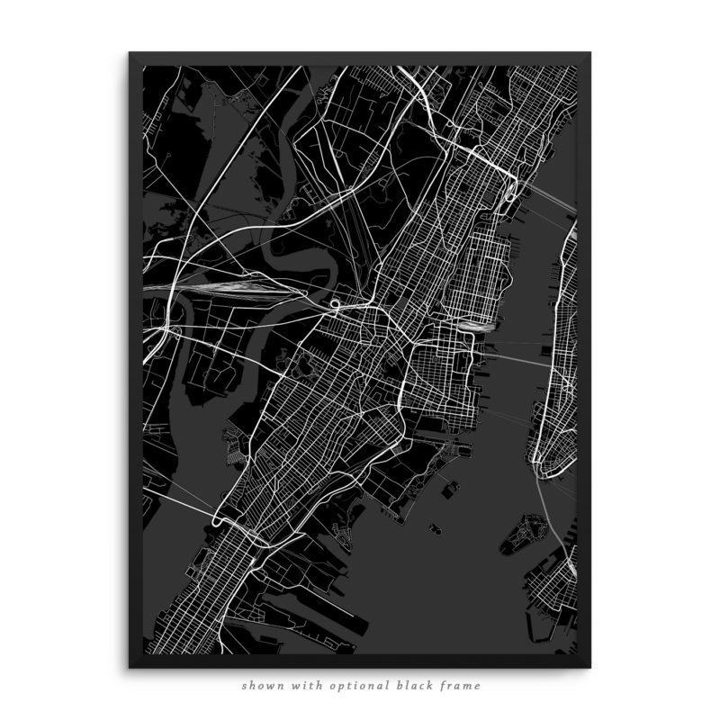 Jersey City NJ City Street Map Black Poster