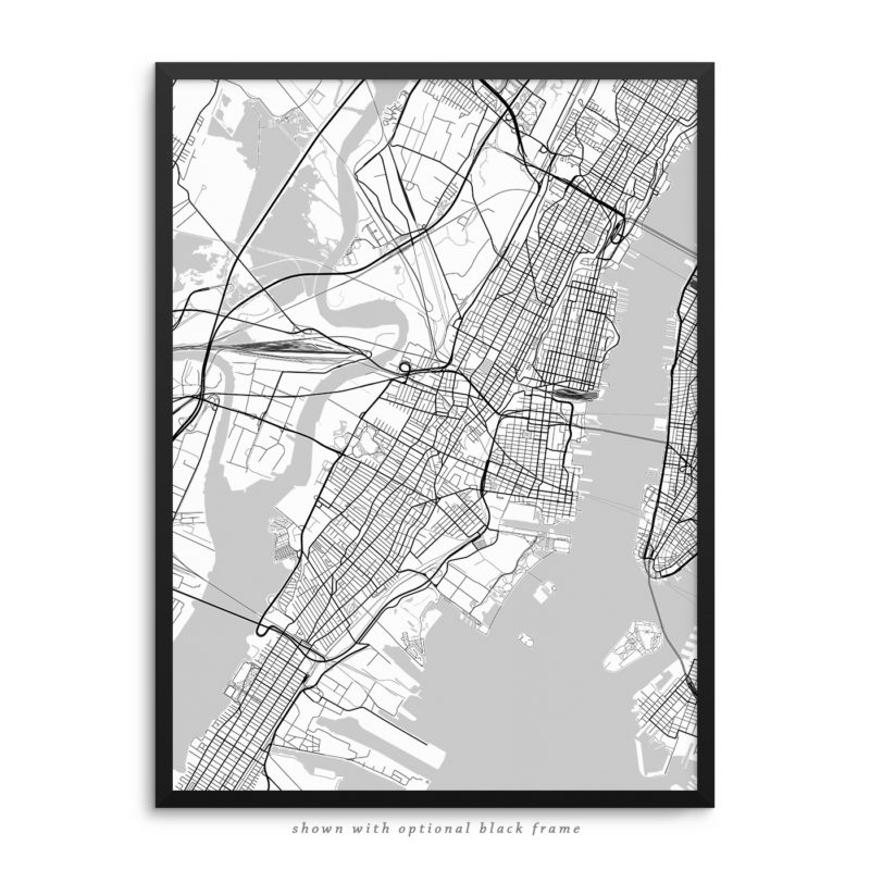 Jersey City NJ City Street Map White Poster