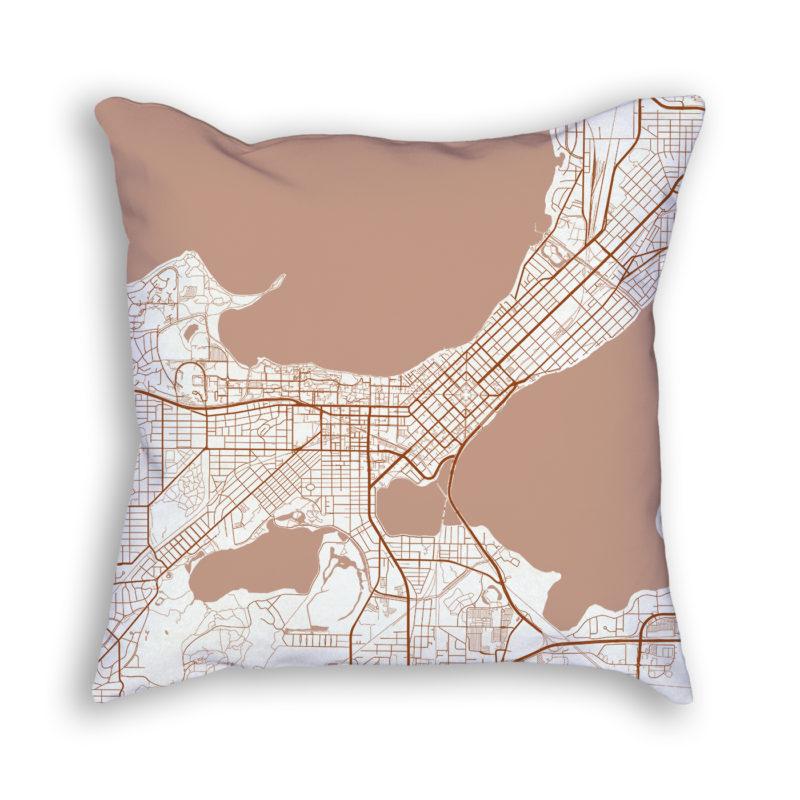 Madison Wisconsin City Map Art Decorative Throw Pillow