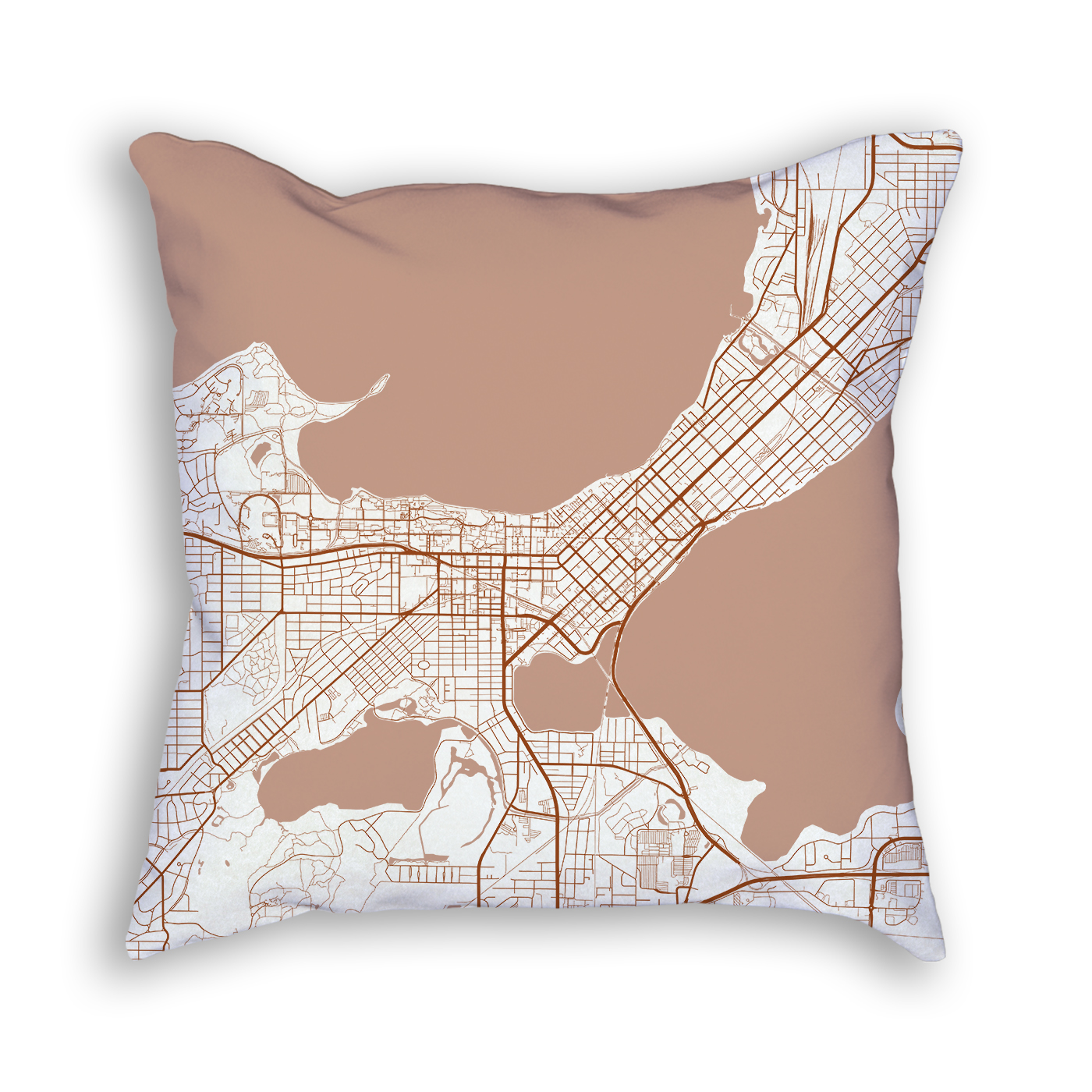 Madison Wisconsin City Map Art Decorative Throw Pillow