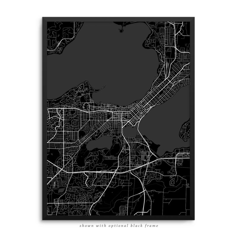 Madison WI City Street Map Black Poster