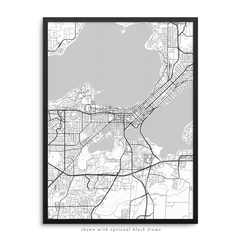 Madison WI City Street Map White Poster