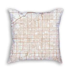 Mesa Arizona City Map Art Decorative Throw Pillow