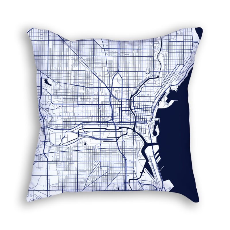 Milwaukee Wisconsin City Map Art Decorative Throw Pillow