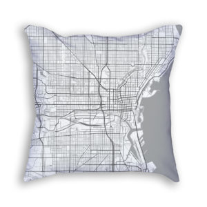 Milwaukee Wisconsin City Map Art Decorative Throw Pillow