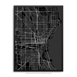 Milwaukee WI City Street Map Black Poster